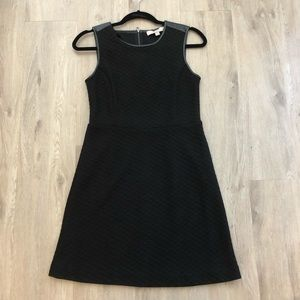 Black dress with faux leather trim
